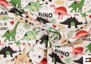 Tela de Popelín de Algodón Estampado Dinosaurios