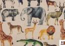 Tela de Algodón con Estampado Digital de Animales de la Selva