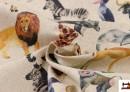 Tela Estampado Digital de Algodón con Animales de la Selva