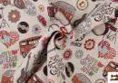 Tela de Tejido Gobelino con Motivos de Furgonetas Hippies y Paz y Amor