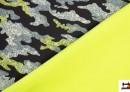 Tela Softshell Estampada Camuflaje Forrada con Polar Pistacho