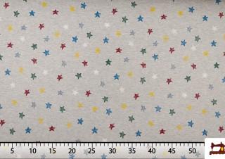 Tela Sudadera de Algodón Estampada con Estrellas de Colores