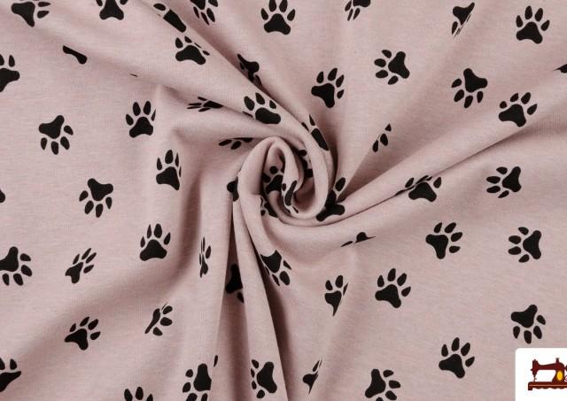 Venta online de Tela Punto Sudadera Estampado con Huellas color Rosa matices