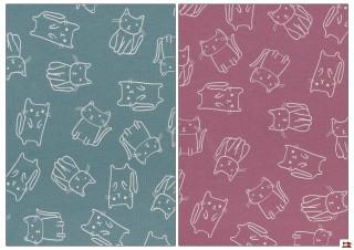 Tela de Punto camiseta con Gatos