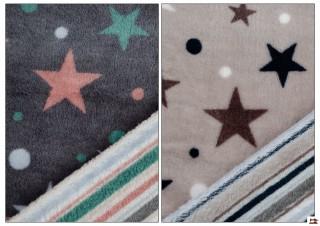 Tela de Minky Estampado Estrellas Revesible con Rayas de Colores