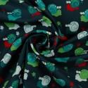 Tela Softshell Estampada con Caracoles de Colores