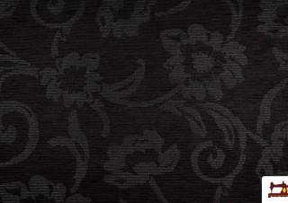 Tela Micro Chenilla Terciopelo Reversible de Color Negro para Tapizar