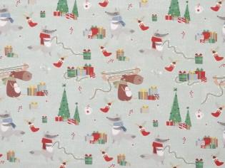 Tela de Navidad con Arbolitos y Renos