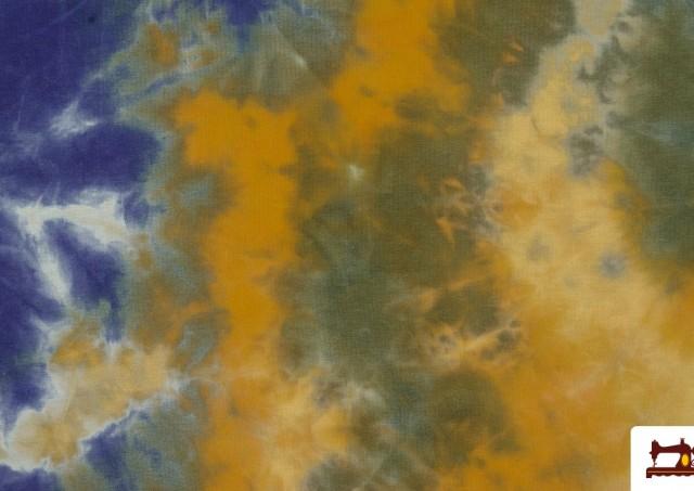 Venta de Tela Punto Camiseta Estampado Manchas color Azul