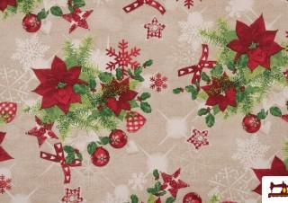 Tela de Algodón Anti Manchas Estampado de Navidad