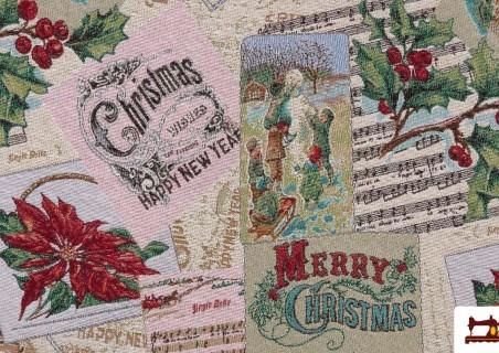 Tela de Tapiceria de Navidad Tejido Gobelino Merry Cristmas