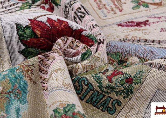 Venta online de Tela de Tapiceria de Navidad Tejido Gobelino Merry Christmas