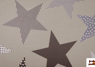 Tela de Estrellas Beige de Varios Tamaños