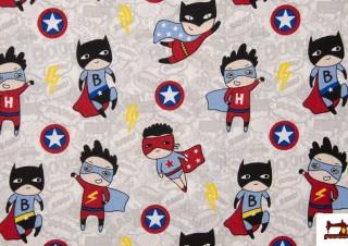 Tela de Loneta Estampada con Superherores