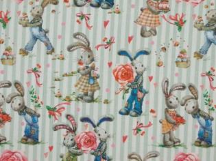 Tela de Algodón Estampado de Conejos