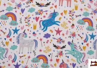 Tela de Algodón Estampado con Motivos de Unicornios