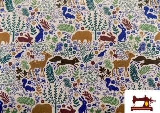 Tela de Popelin de Algodón con Animales del Bosque