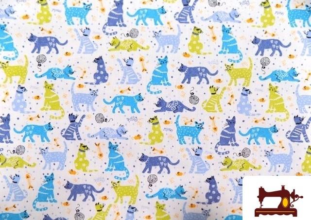 Tela Infantil  Estampada de Popelin con Gatos Pequeños Estampados color Azul