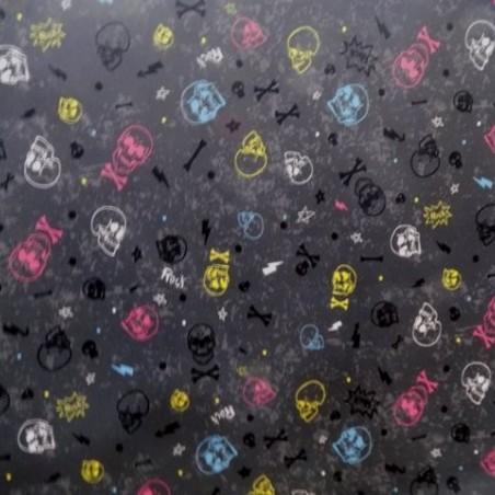 Tela de Pul Estampada con Calaveras de Colores
