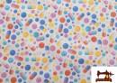 Tela de Algodón Estampado de Pastillas y Capsulas de Colores