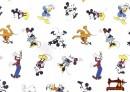 Tela Estampada de Algodón Repelente al Agua con Mikey y los Personages de Disney