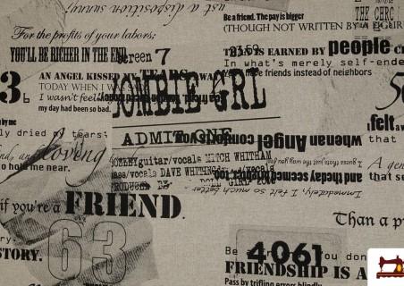 OUTLET Tela de Loneta Estampada con letras