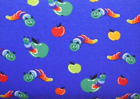 Comprar Tela de Punto de Camiseta Gusanos de Colores color Azul azafata