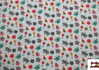 Tela de punto de Camiseta Mariquitas y Mariposas