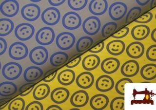 Tela de Punto de Camiseta estampado Emoji Emoticonos Felices