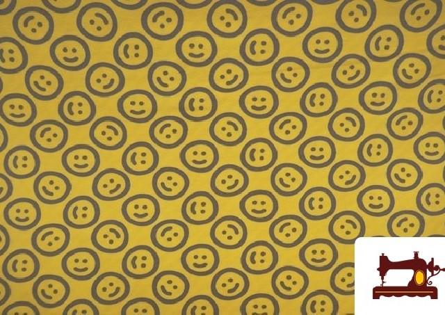 Comprar Tela de Punto de Camiseta estampado Emoji Emoticonos Felices color Amarillo