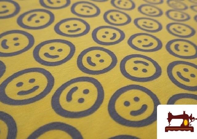 Venta de Tela de Punto de Camiseta estampado Emoji Emoticonos Felices color Amarillo