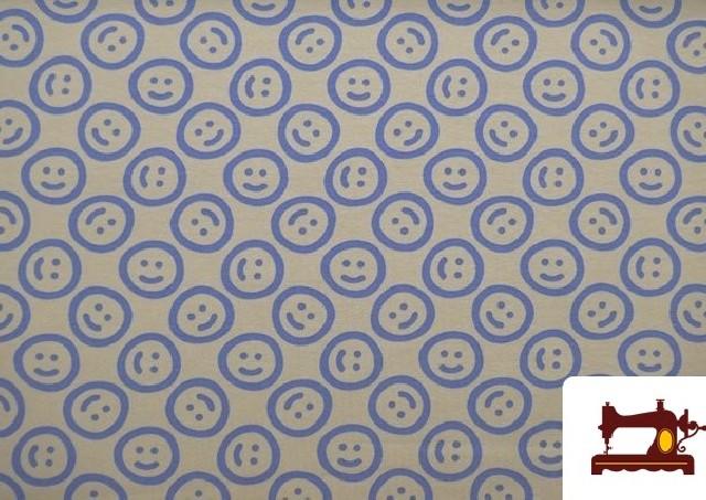 Comprar online Tela de Punto de Camiseta estampado Emoji Emoticonos Felices color Azul Marino