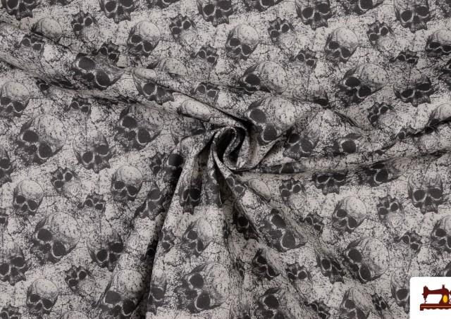 Tela de Calaveras de Algodón Barata