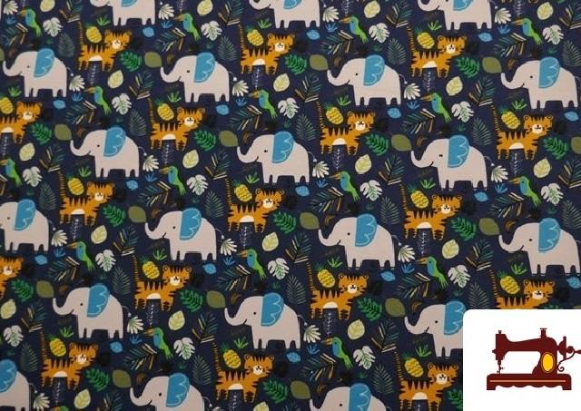 Tela de Sudadera Fina Tigres y Elefantes color Azul Marino