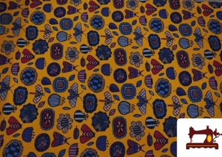 Tela de Sudadera Invierno Estampado Insectos Retro color Mostaza
