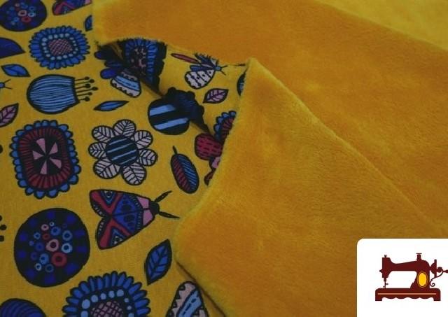 Comprar Tela de Sudadera Invierno Estampado Insectos Retro color Mostaza