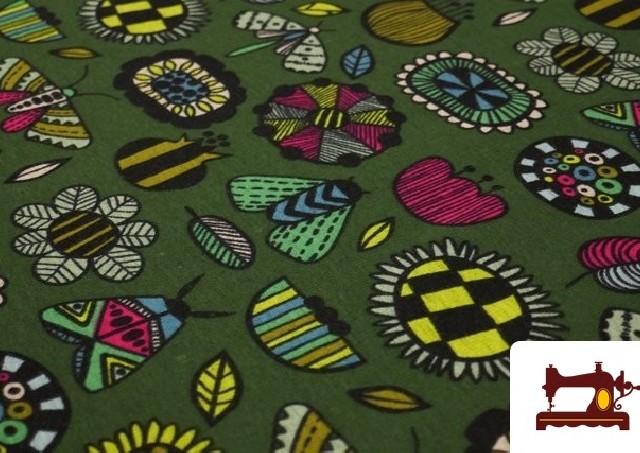 Venta online de Tela de Sudadera Invierno Estampado Insectos Retro color Verde