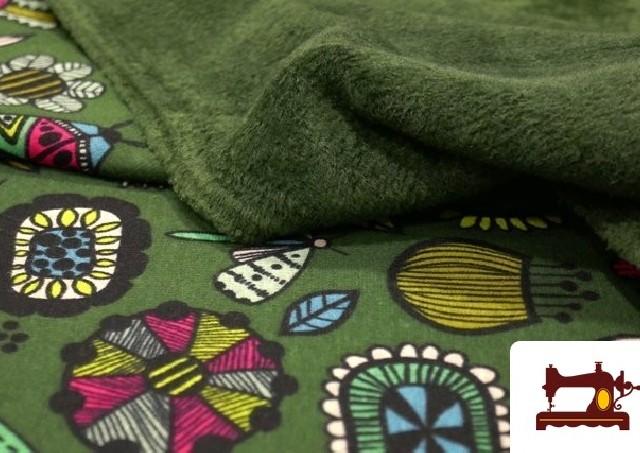 Tela de Sudadera Invierno Estampado Insectos Retro color Verde