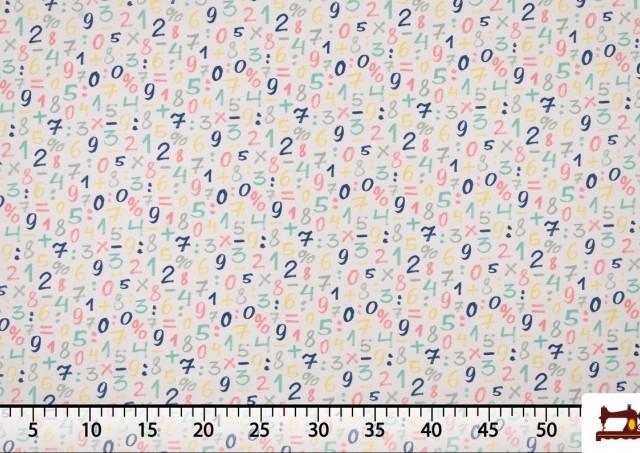 Venta de Tela Infantil Estampada con Números de  Colores Suaves
