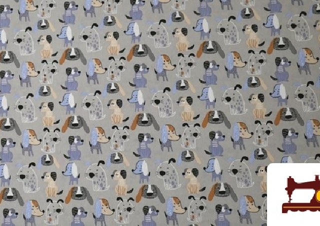 Venta de Tela de Loneta Estampada Perros Divertidos