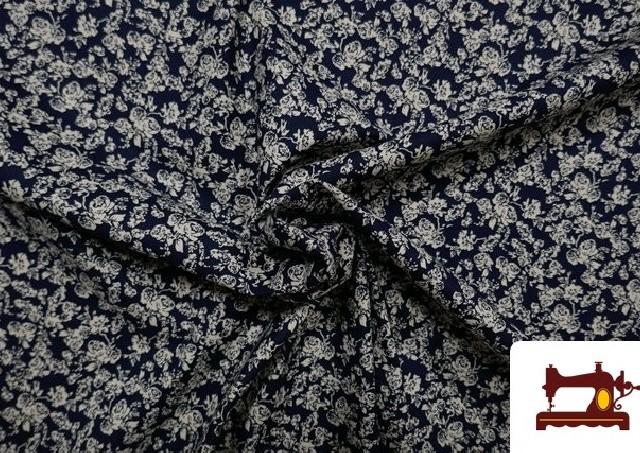 Comprar online Tela de Popelín de Algodón Rosas Azul Marino