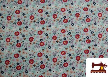 Comprar Tela de Sudadera Flannel Estampado Flores color Azul