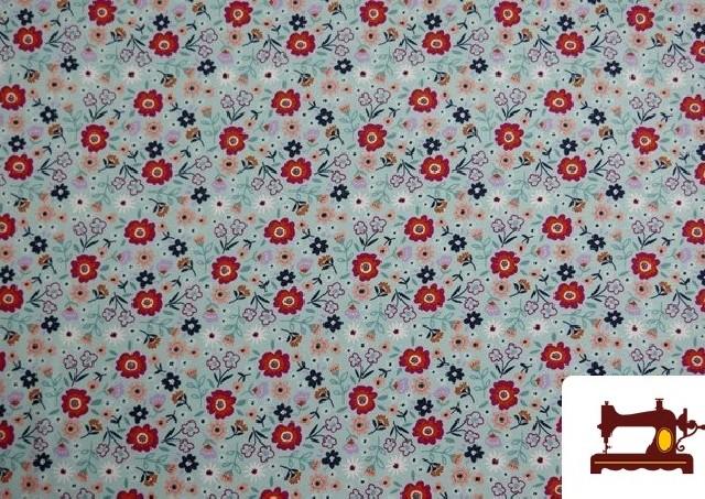 Venta de Tela de Sudadera Flannel Estampado Flores color Azul