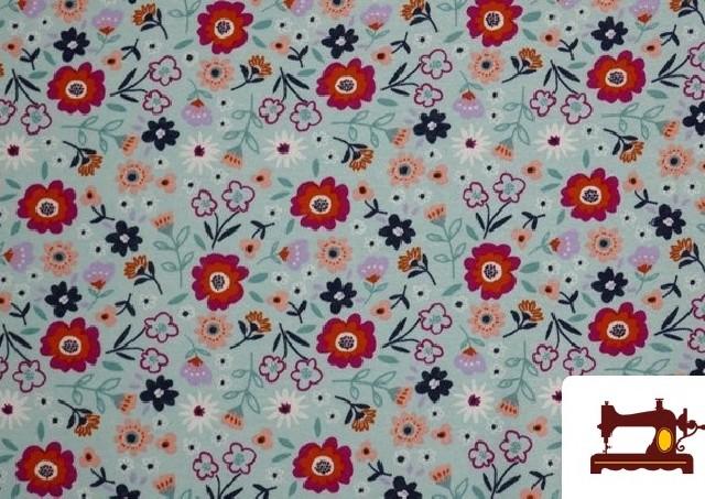 Comprar online Tela de Sudadera Flannel Estampado Flores color Azul