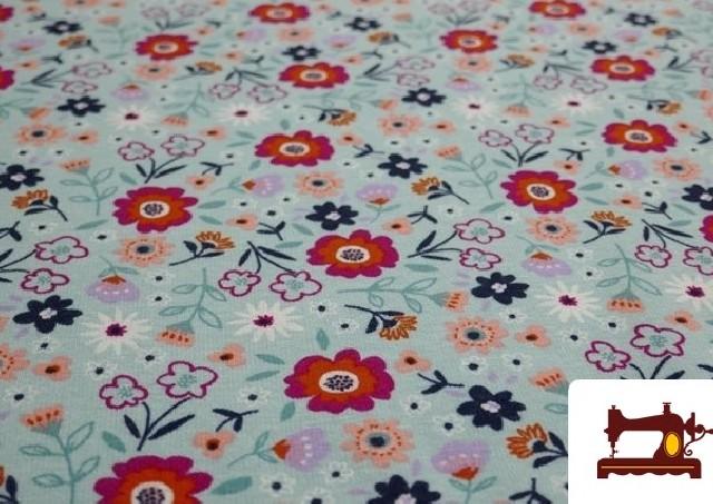 Venta online de Tela de Sudadera Flannel Estampado Flores color Azul