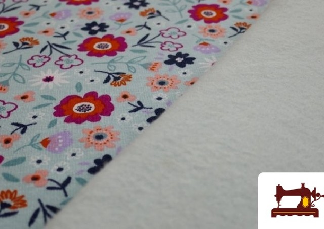 Tela de Sudadera Flannel Estampado Flores color Azul