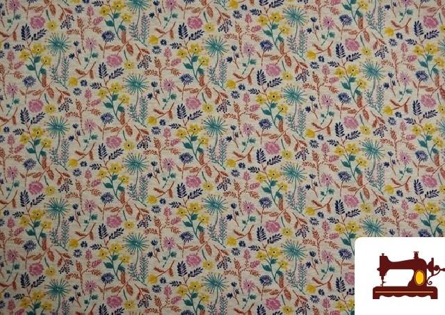 Tela de Sudadera Flannel Estampado Flores Silvestres