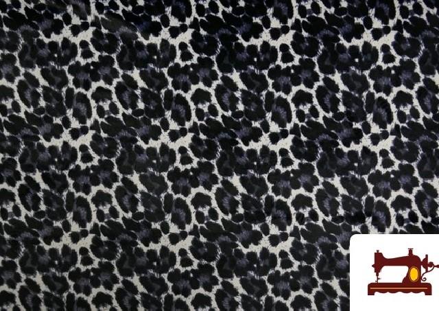 Tela de Terciopelo Animal Print Leopardo Gris