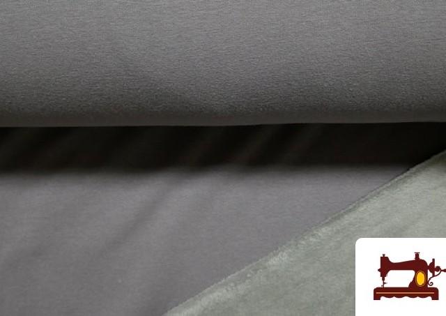 Tela de Sudadera Flannel Lisa de Colores color Gris