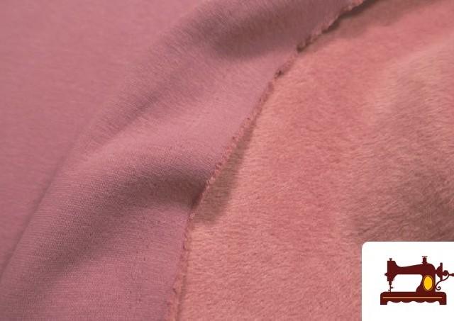 Tela de Sudadera Flannel Lisa de Colores color Rosa